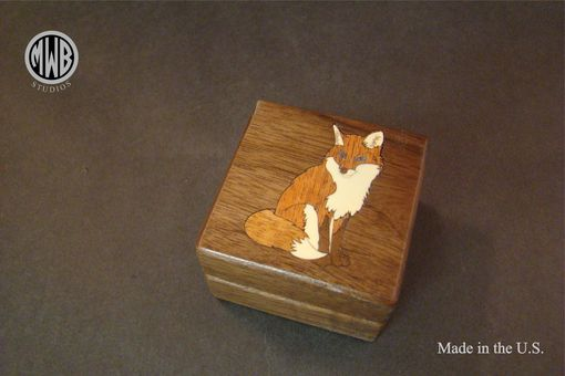 Custom Made Sitting Fox Ring Box With Inlaid Woods. Free Engraving And Shipping. Rb-94
