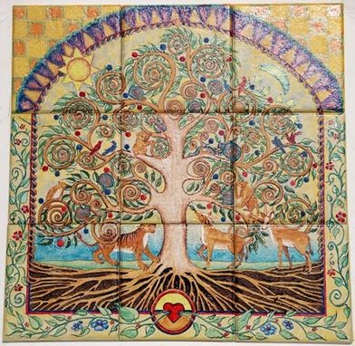 "Custom Made Hand Painted Ceramic Tile ""Tree Of Life"""