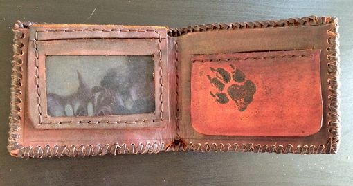 Custom Made Howling Wolf Leather Wallet