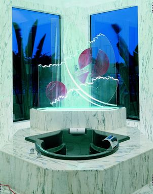 Custom Made Carved Glass Shower & Tub Divider Using Mutiple Panels With Laminated Glass Overlays And Illuminated.
