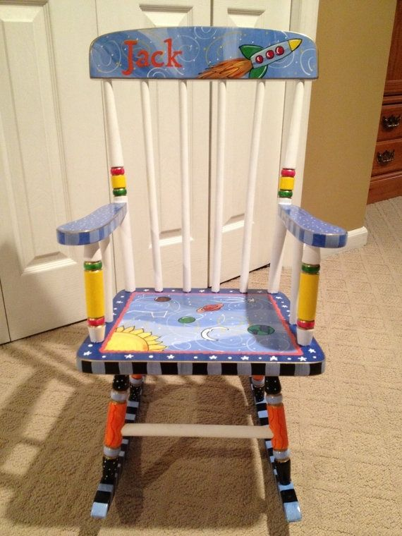 Hand made custom hand painted child 39 s rocking chair youth - Paint for childrens furniture ...