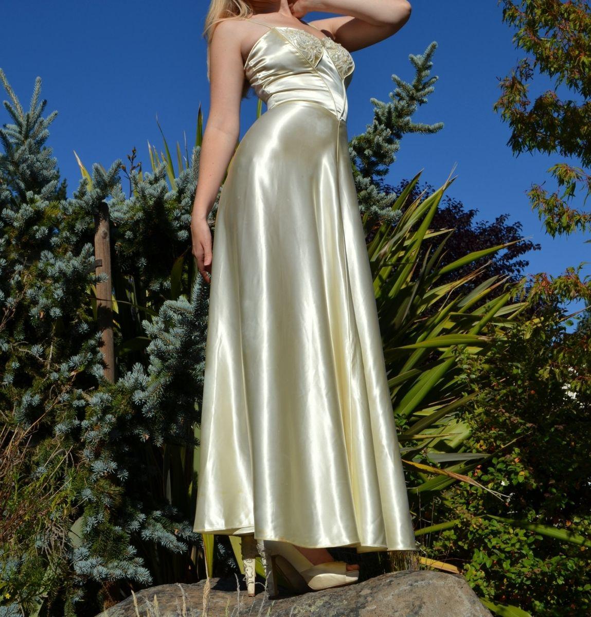 Hand made vintage 50s wedding dress silk satin old for Vintage satin wedding dresses