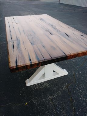 Custom Made Reclaimed Redwood Water Tank Wood Dinning Table