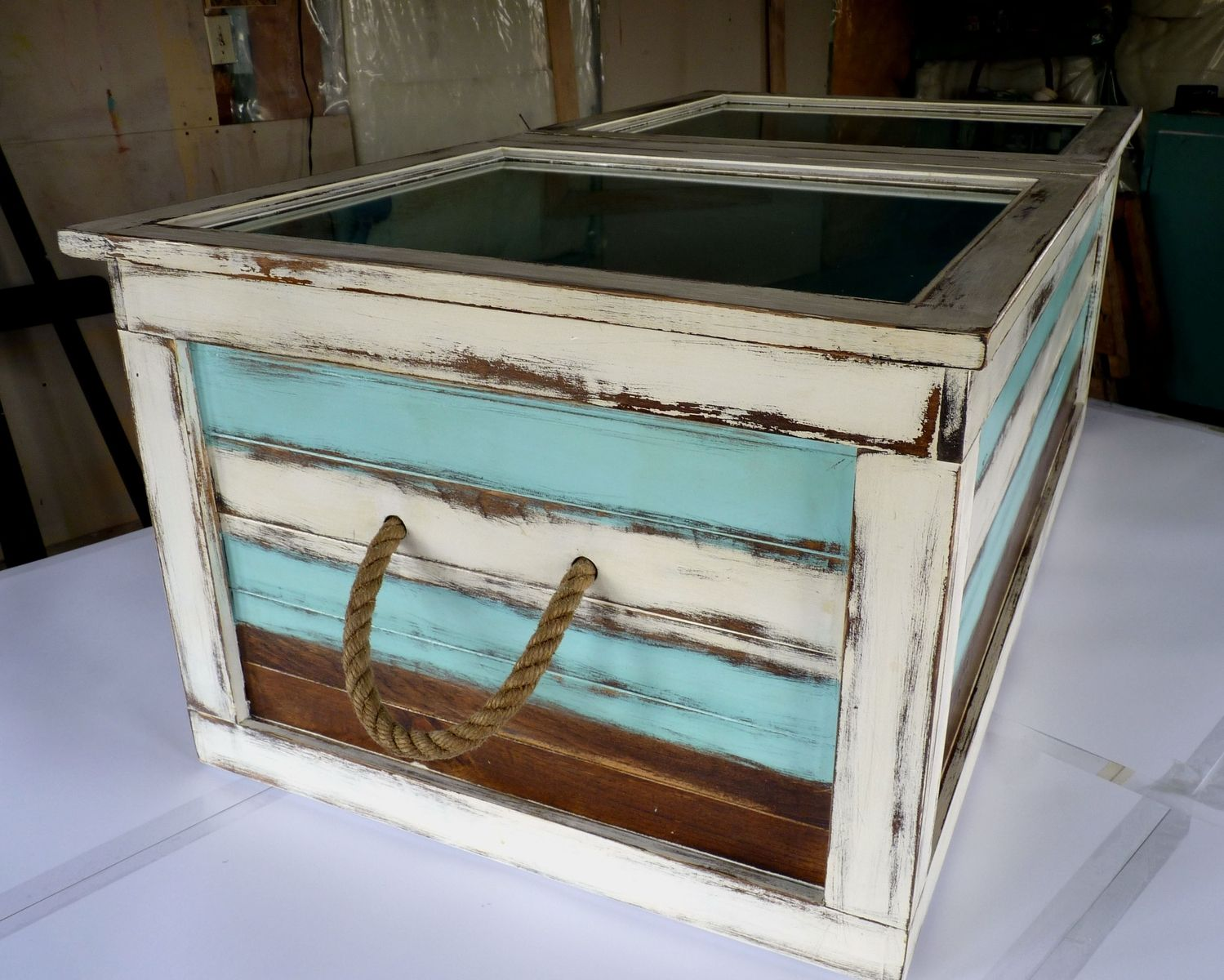 Custom Made Beach Finished Coffee Table - Hand Made Beach Finished Coffee Table By Schmidt Mandell Studio