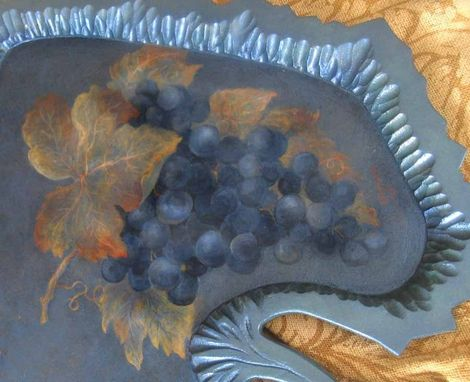 Custom Made Grape Leaf Tray With Painted Grapes