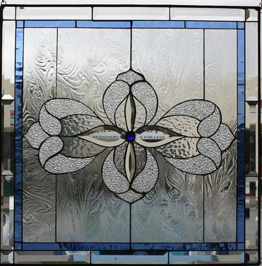 Custom Made Lovely All Clear Beveled Taffy Stained Glass Window Panel