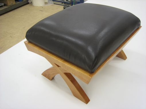 Custom Made Curved Cherry And Leather Footstool