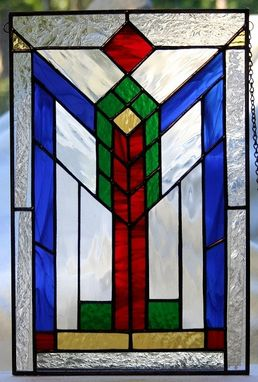 Custom Made Geometric Stained Glass Panel
