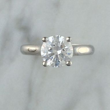 Custom Made 1.00ct Moissanite Diamond Engagement Ring In 14k White Gold Setting