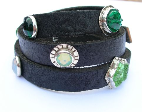 Custom Made Leather Wrap Bracelet With Green Vintage Glass Embellishments, Green Glass Bracelet