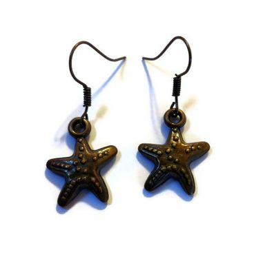 Custom Made Bronze Starfish Earrings