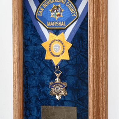 Custom Made Single Medal Display Case, Wood Awards Display Case