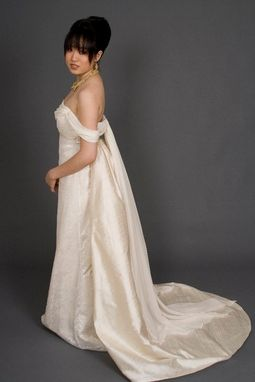 Custom Made Silk Devore Empire Bridal Gown With Detachable Train