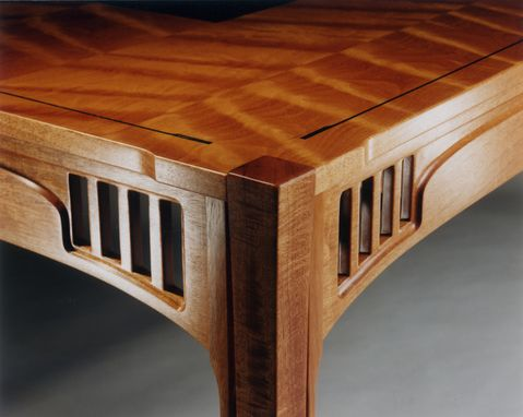 Custom Made Figured Mahogany Executive Desk With Inlays