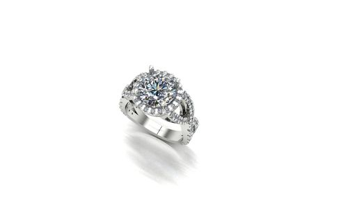 Custom Made Clair De Lune Moissaite And White Sapphire Halo Infinity Engagement Ring