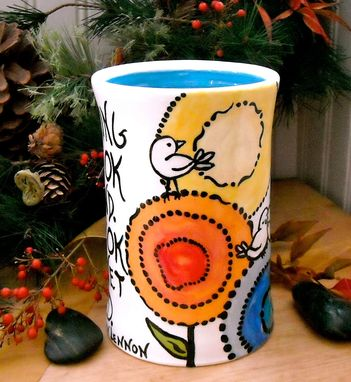 Custom Made Ceramic Pottery Large Rainbow Flower And Bird Coffee Mug - Ok Quote