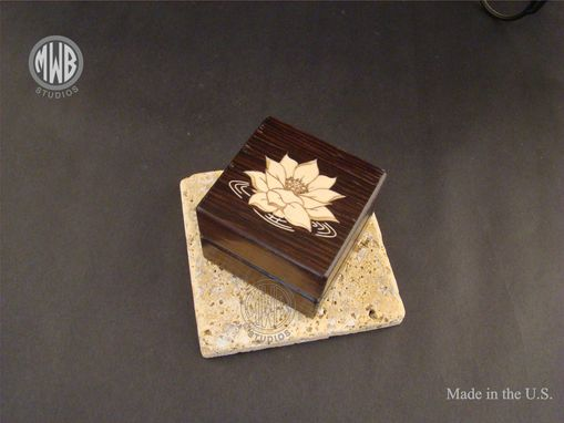 Custom Made Inlaid Lotus Flower On Box Made Of Solid Wenge.  Free Engraving And Shipping.  Rb73
