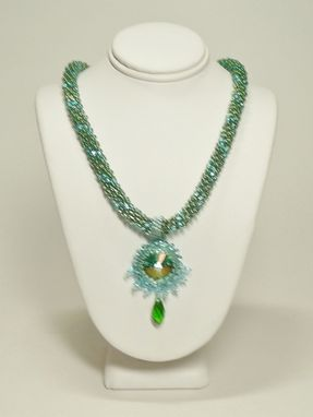 Custom Made Green/Aqua Kumihimo Necklace W/18mm Mer D' Aqua Rivoli Pendant