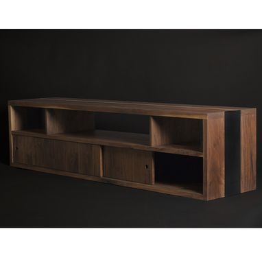 Custom Made Modern Walnut/Steel Media Console