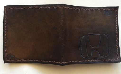 Custom Made Slim Leather And Suede Logo Wallet