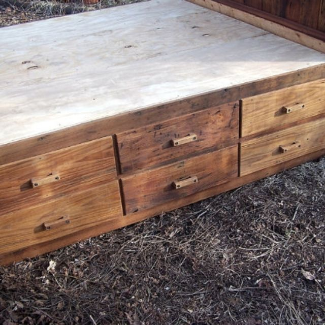 A Hand Made 12 Drawer Rustic Reclaimed Wood Platform Storage Bed To Order From The Strong Oaks Custommade