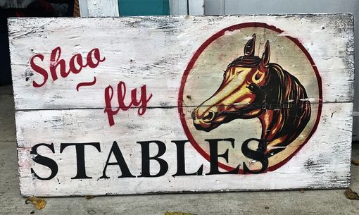 Custom Made Stable Sign, Horse Sign, Customize Your Own Sign, Vintage Looking Wood Sign, Shoo Fly Stables Sign