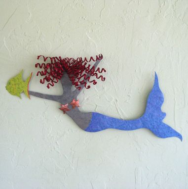 Custom Made Mermaid Wall Art - Marlena - Reclaimed Metal Wall Sculpture Art Beach House Coastal
