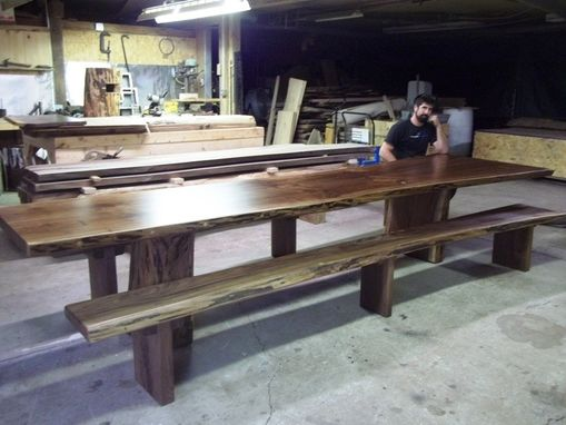 Custom Made Black Walnut Live Edge Slab Table 14' Long
