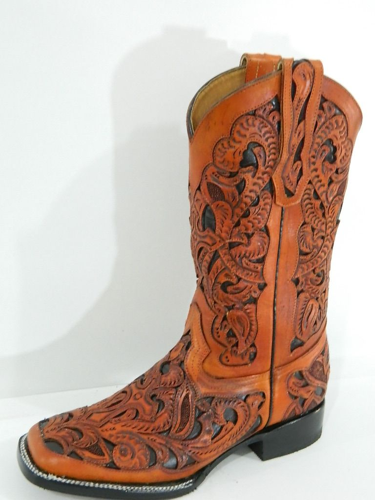 hand crafted hand tooled and inlayed men cowboy boots square toe
