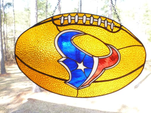Custom Made Huston Texans Sports Stained Glass Hanging