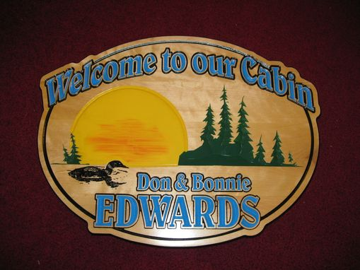 Custom Made Custom Made Oval Cabin Welcome Sign