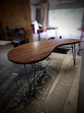 Custom Made Mid Century Modern Reclaimed Black Walnut Kidney Coffee Table