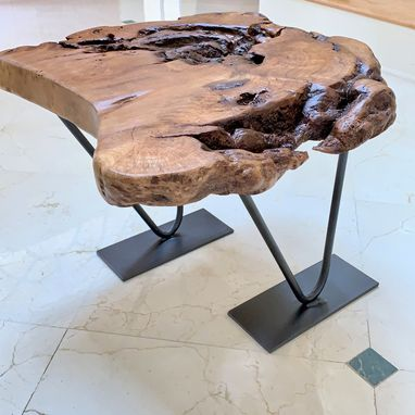 Custom Made Large Burl-Top Studio Coffee Table
