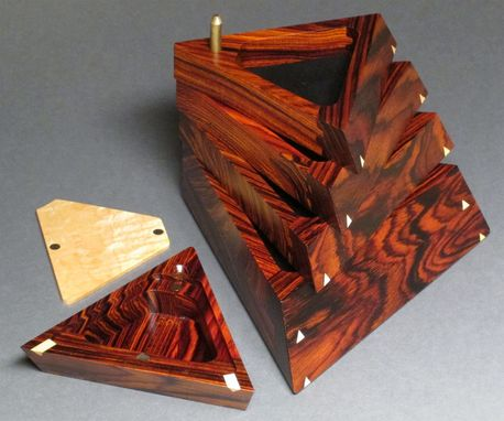 Custom Made Pivoting Jewelry Box With Secret Compartment, Cocobolo
