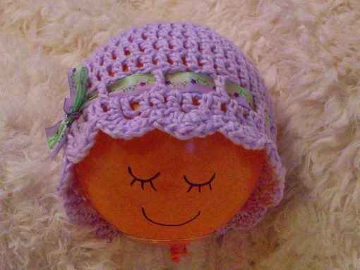 Custom Made Pretty Crochet Purple Lavender Cloche/Beanie With Satin Ribbon And Bow - 17 Inches - 3-9 Months