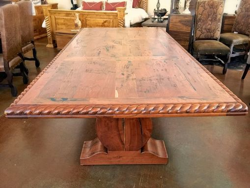 Custom Made Rope Edge Pedestal Mesquite Rustic Dining Table