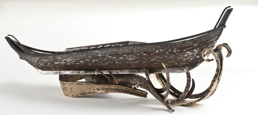 Custom Made Hand Forged Steel And Bronze Boat Sculpture