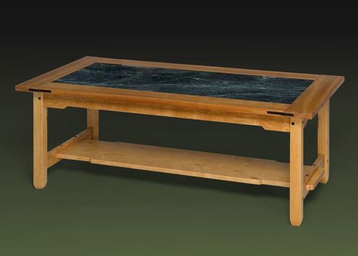 Custom Made Greene & Greene Coffee Table With Marble Insert