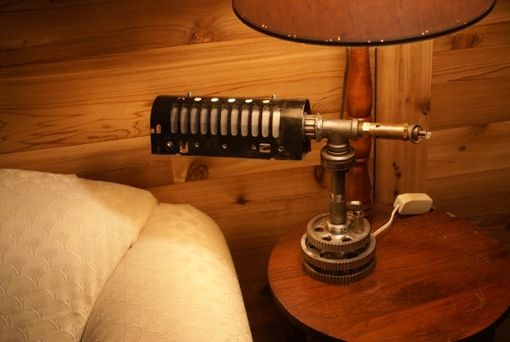Custom Made Steampunk Custom Desk Lamp With Pressure Relief Valve, Customized Re-Purposed Lamp Shade