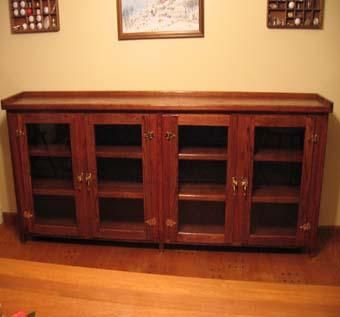 Custom Made Glass Front Oak Book Case