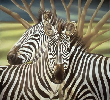 Custom Made Zebras Portrait - Original Acrylic Painting