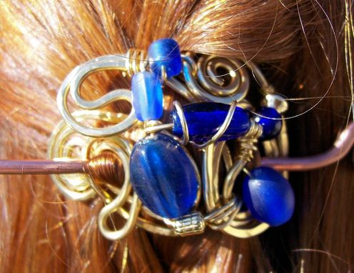 Custom Made Cobalt Blue Glass Accented Brass Hairpin