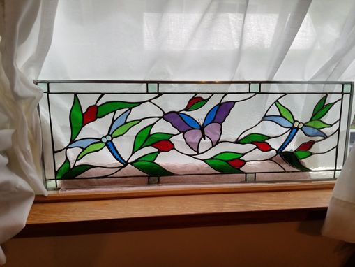 Custom Made Stained Glass Butterfly & Dragonflies Window