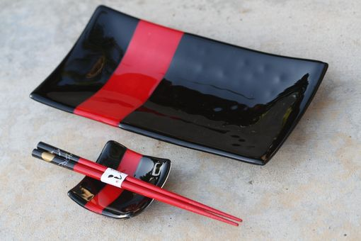 Custom Made Black And Red Glass Sushi Set For Two