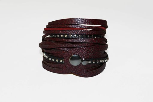 Custom Made Leather Wrap Bracelet With Studded Metal Detail