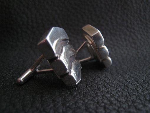 Custom Made Custom Sterling Silver Cufflinks With Business Logo Or Wedding Logo