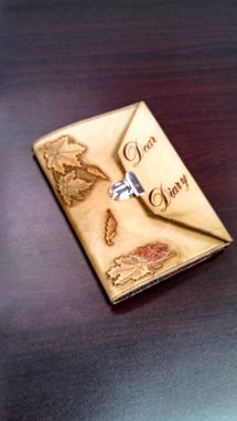 "Custom Made Leather Maple Leaf ""Dear Diary"" Journal Cover"
