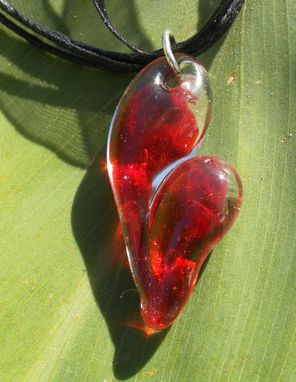 Custom Made Ruby Red Glass Sweetheart Necklace
