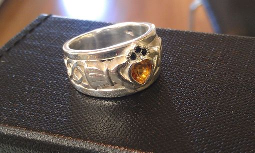 Custom Made Claddagh Ring With Birthstones And Spinel