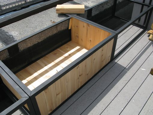 Custom Made Steel And Cedar Garden Planter Boxes
